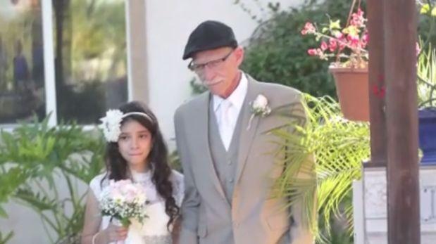 Antes de morir, lleva a su hija de 11 años al altar