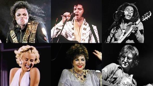 Michael Jackson, Elvis Presley, Bob Marley, Elizabeth Taylor, Marilyn Monroe y John Lennon figuran en la lista de Forbes. (Fotos: agencias)